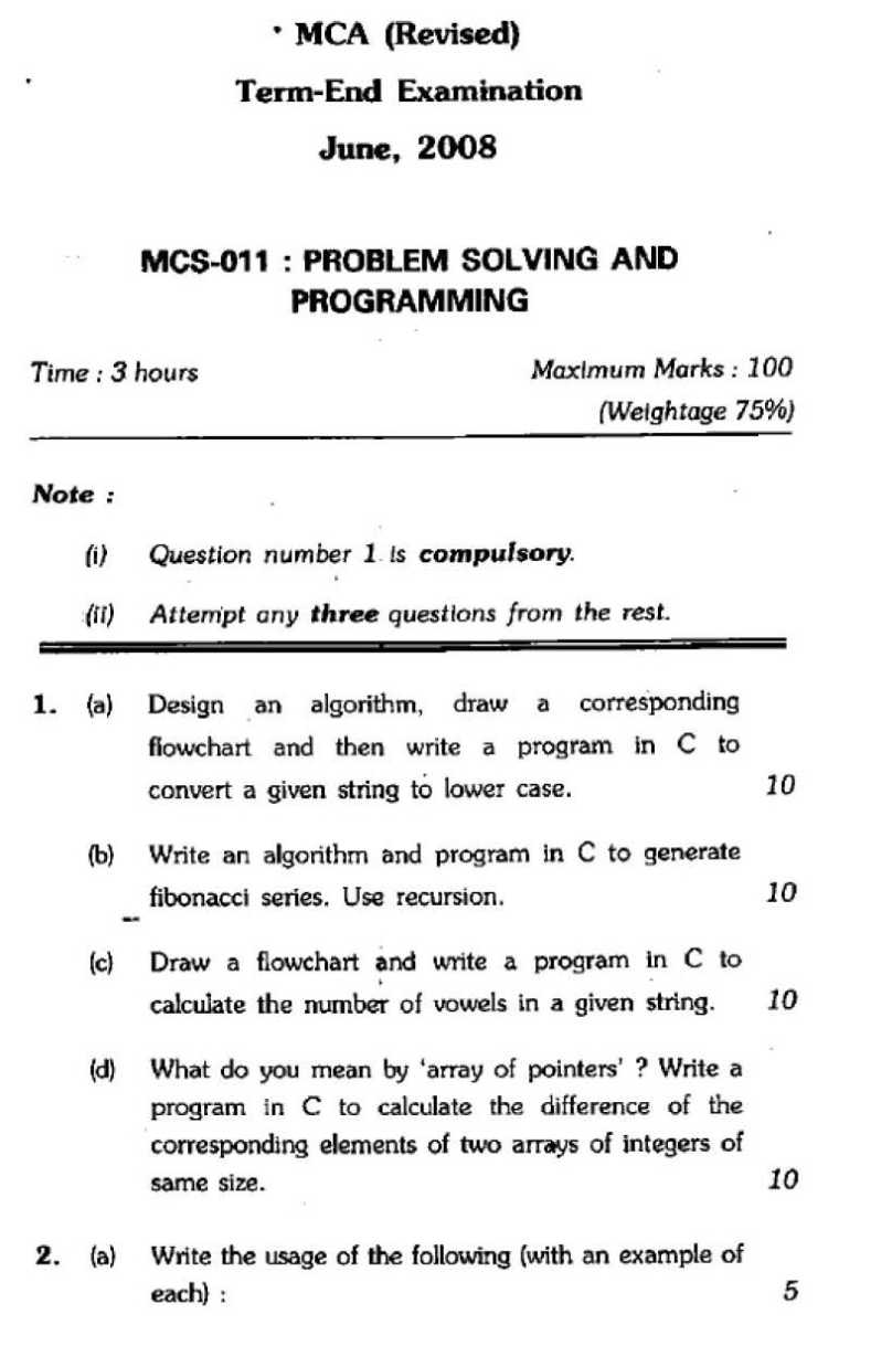 Mca june 2011 exam paper