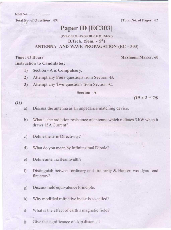 PTU B Tech ECE V Sem Antenna and Wave Propagation Exam