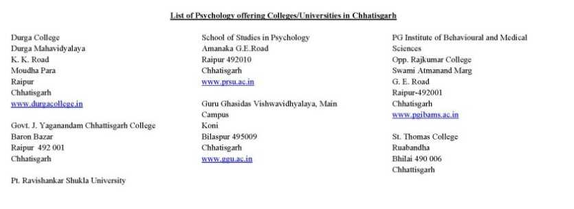 Psychology universities course
