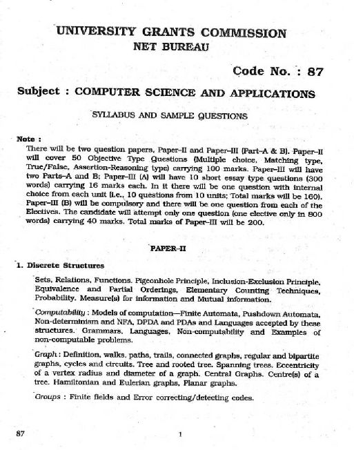 ugc computer science and application syllabus of net  ugc computer science and application syllabus of net
