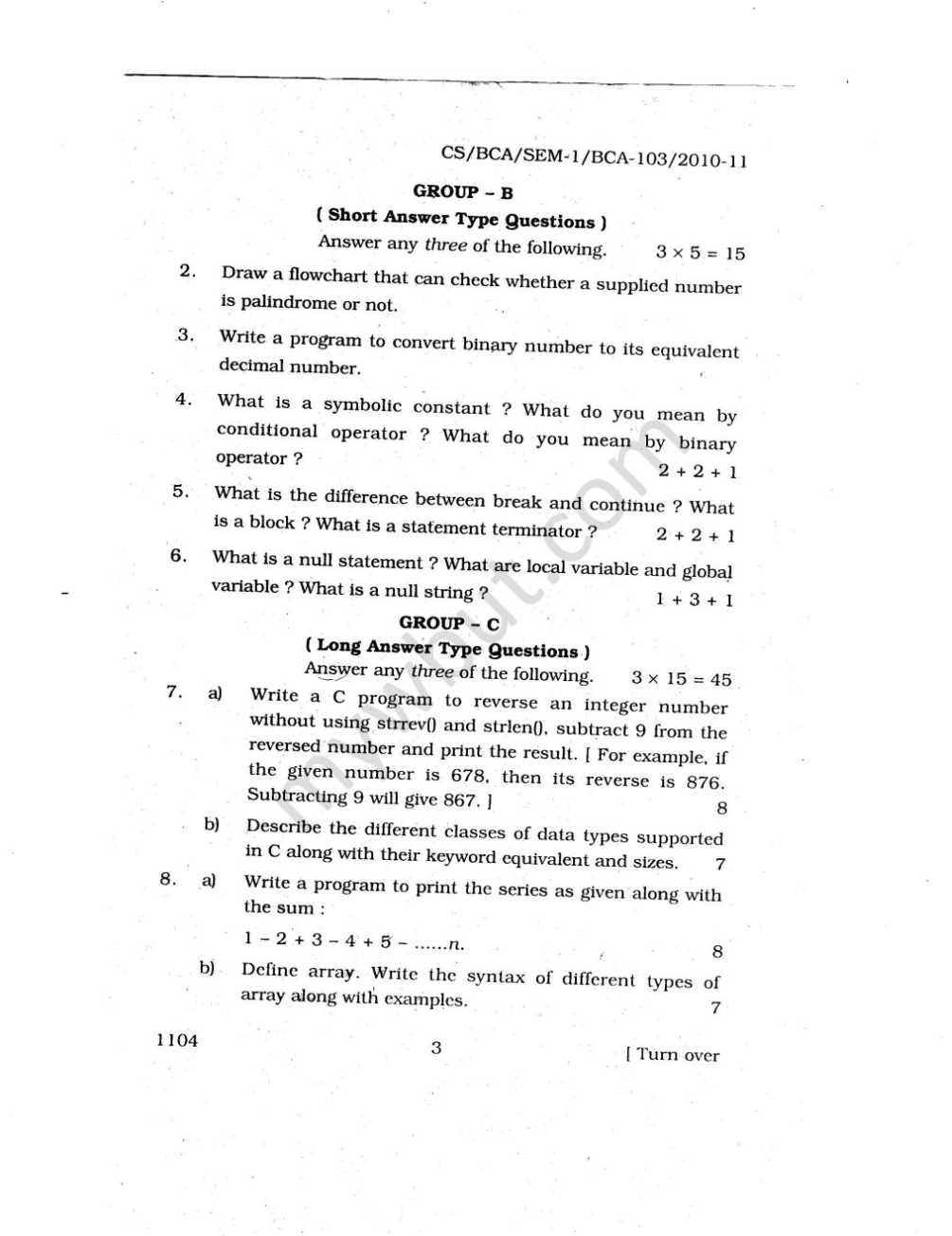 Bca 2nd Sem Maths Question Paper