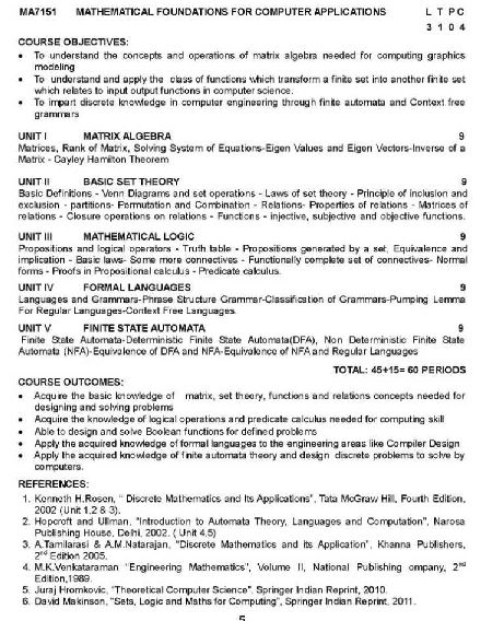 Anna University MCA New Revised Syllabus Regulation - 2018-2019 StudyChaCha
