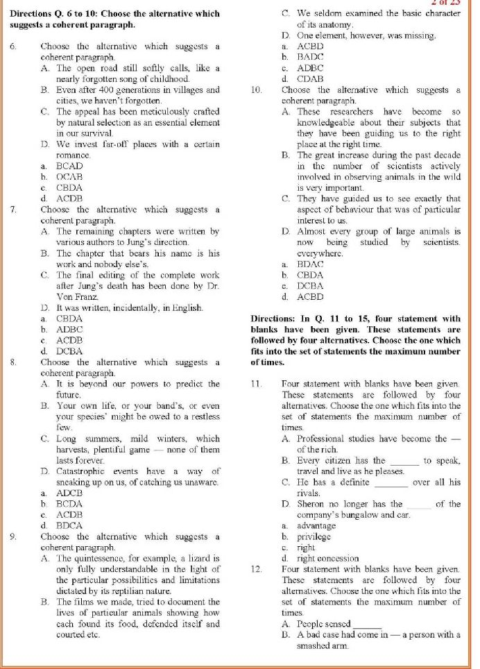 cat exam question paper 2014 pdf