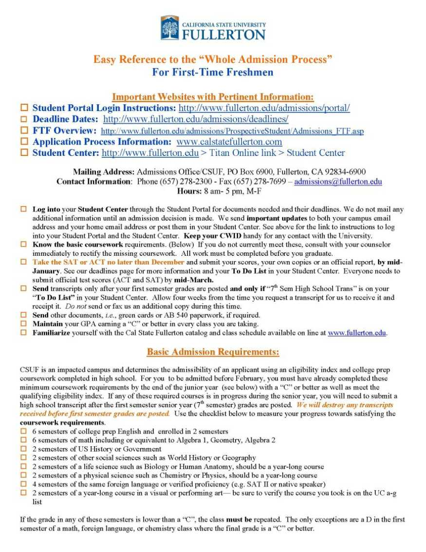 Cal State Fullerton Admissions Email Address