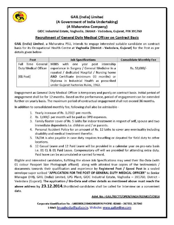 gail job qualification required studychacha recruitment of general duty medical officer on contract basis at gail vaghodia