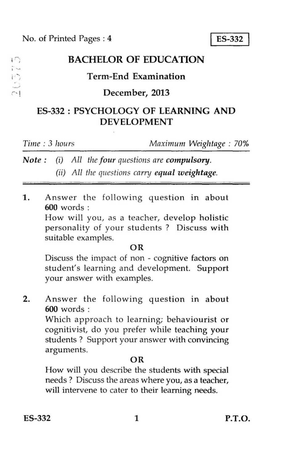 developmental psychology essay exam questions Exam questions for essay-based courses often contain 'process words' these  require you to organise what you know about a topic in a particular way.