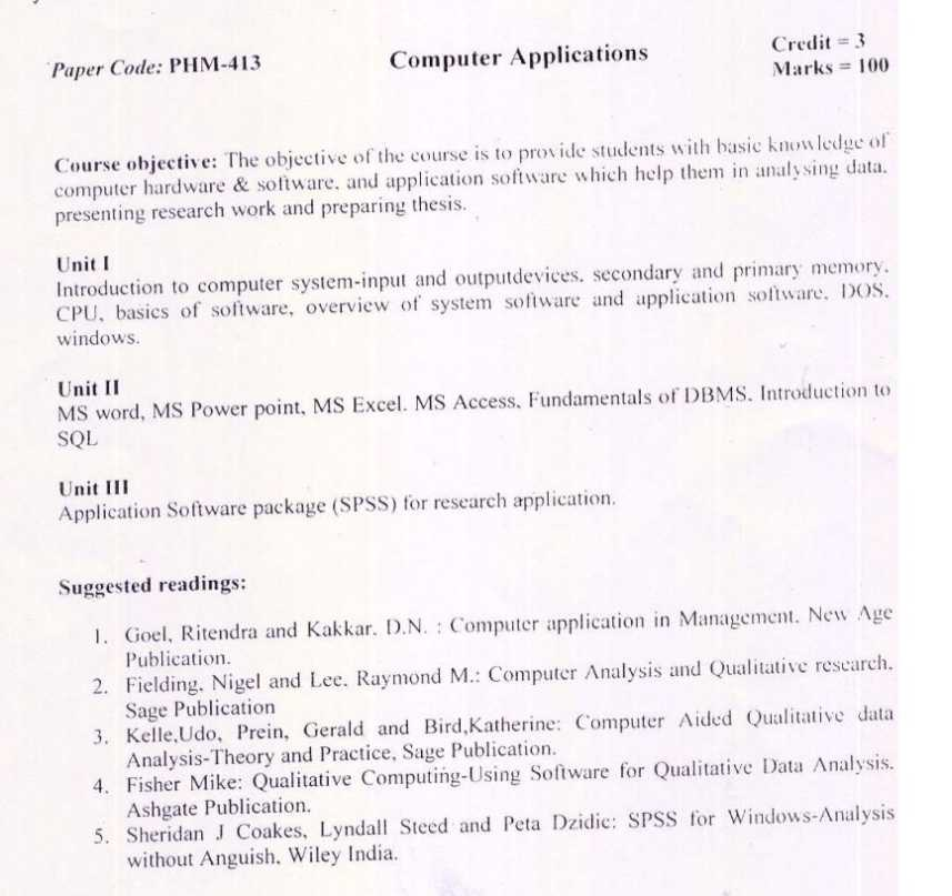 Syllabus for phd course work in management