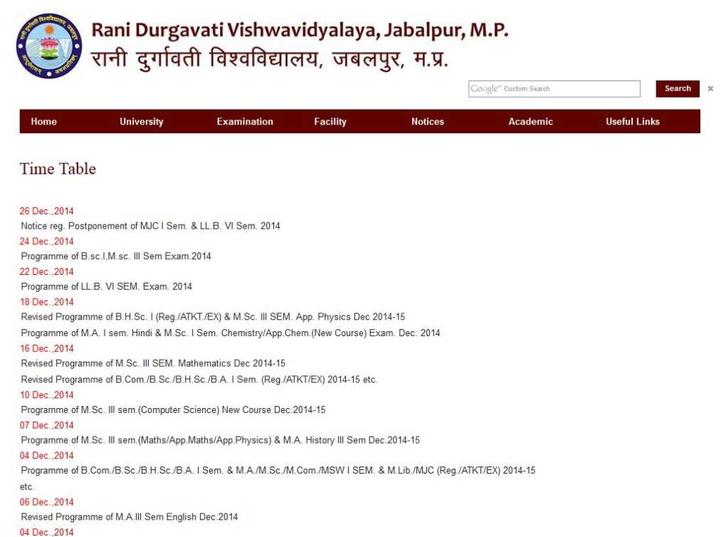Rdvv mba time table 2018 2019 studychacha for Rdvv 5th sem time table