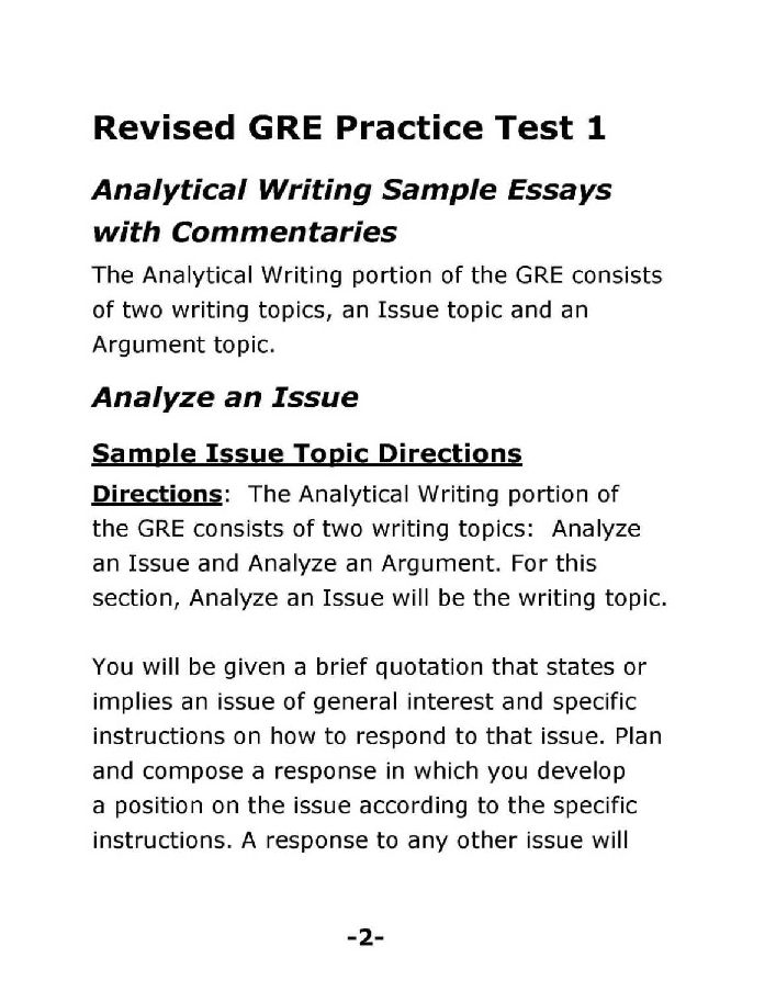 Sample answer for each argument essay gre