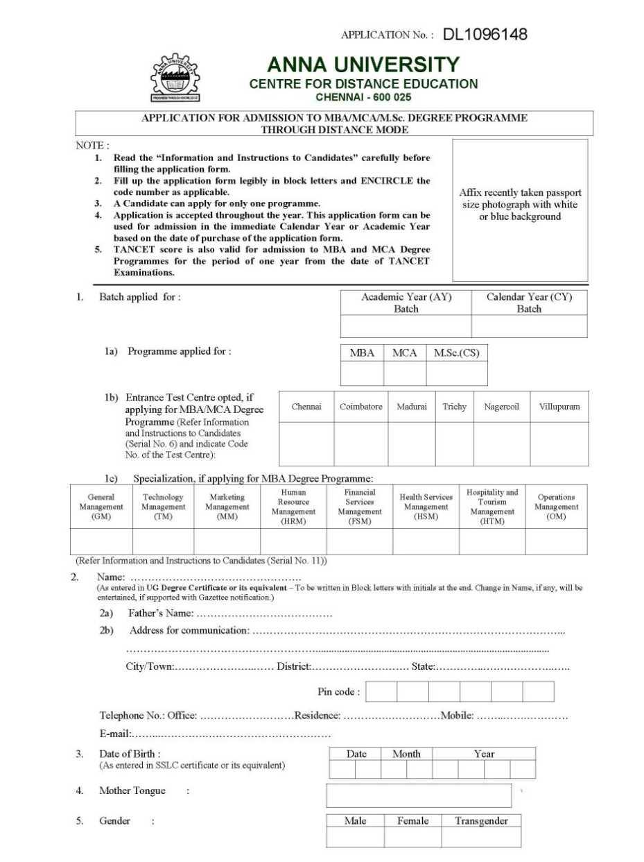 Anna university correspondence courses 2018 2019 studychacha anna university center of distance education mba mca mcs application form yadclub Choice Image