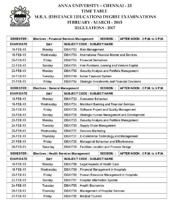 anna university time table 2018 pdf