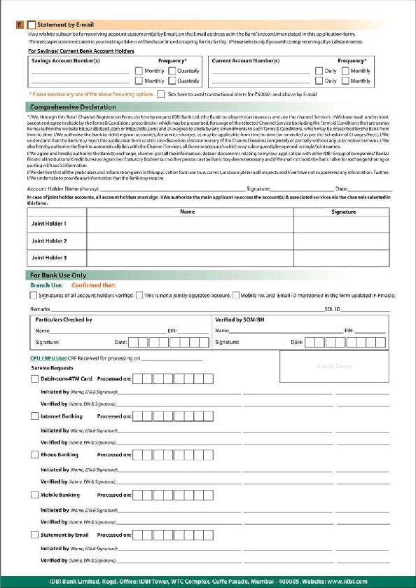 application form for corporate internet banking idbi bank