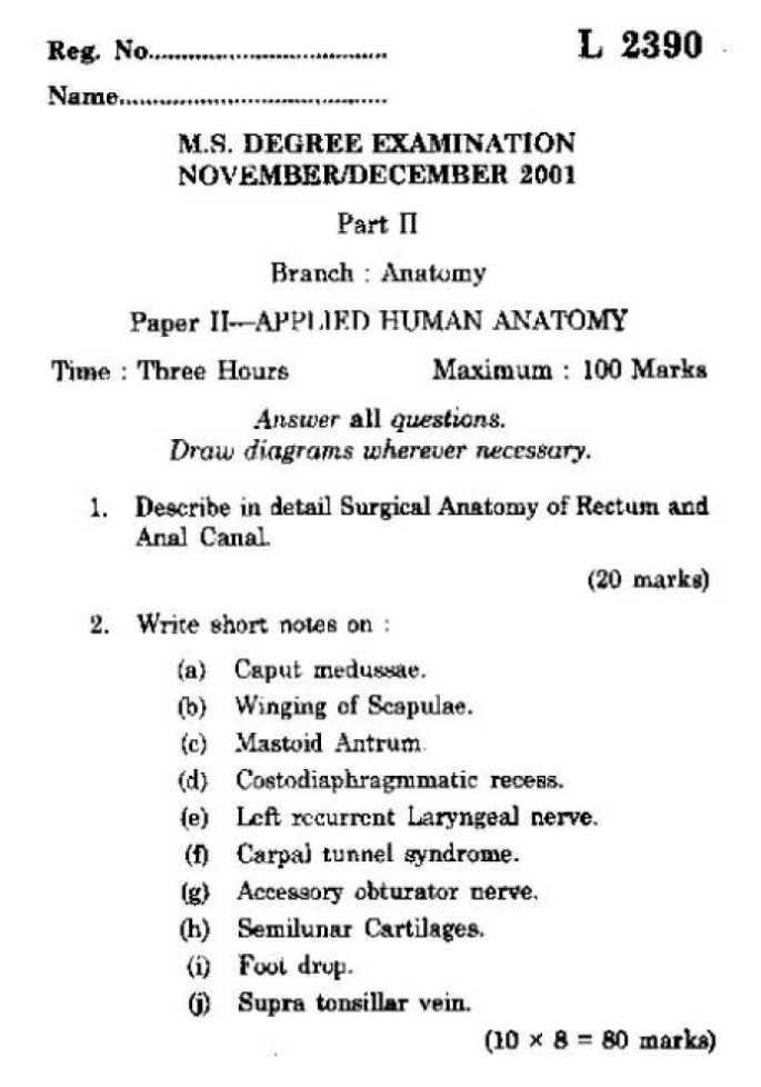 Kerala University Ms In Anatomy Exam Papers 2018 2019 Studychacha