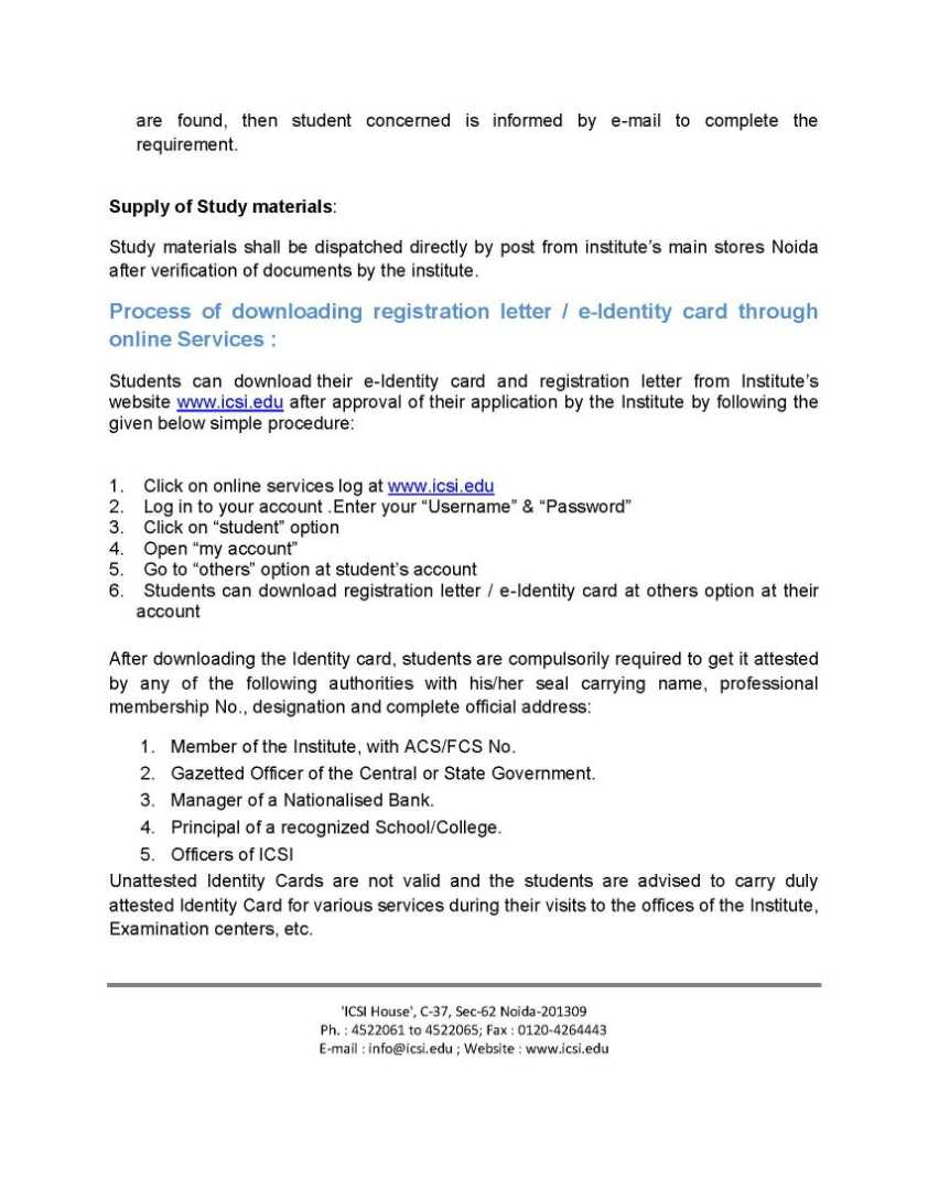 Registration Form For Company Secretary Course 2018 2019 Studychacha