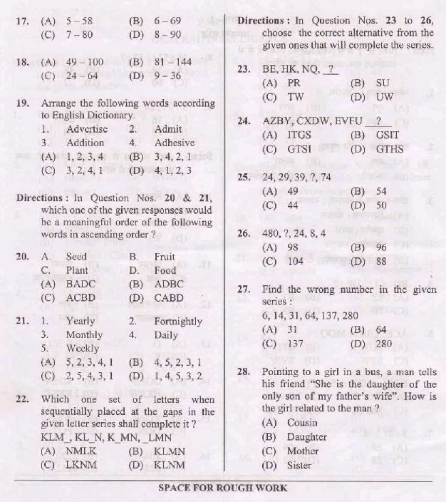 ssc intermediate level exam question paper