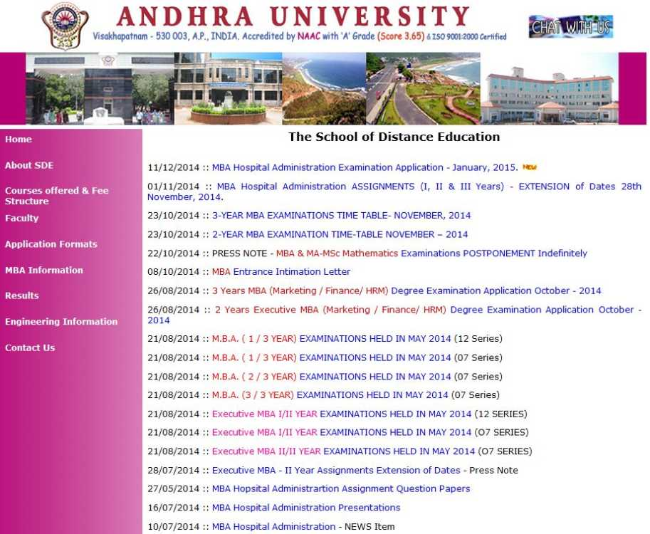 Andhra University Distance MBA Admissions 2019, Fee ...