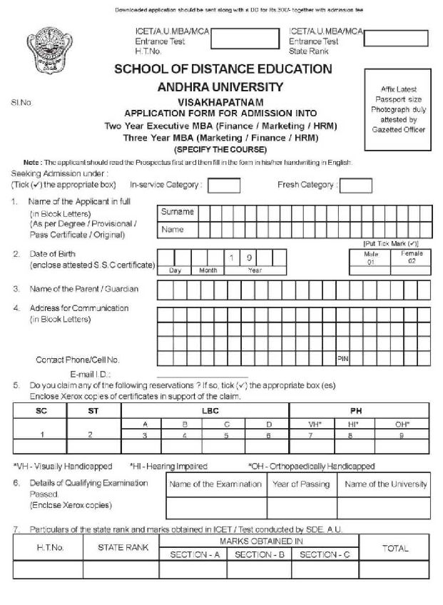 Andhra University Distance MBA Admission, Courses, Fees ...