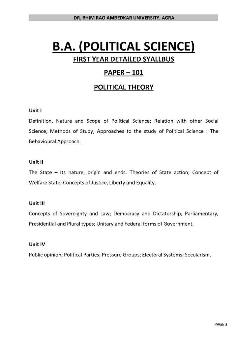 Political Science english subjects in college