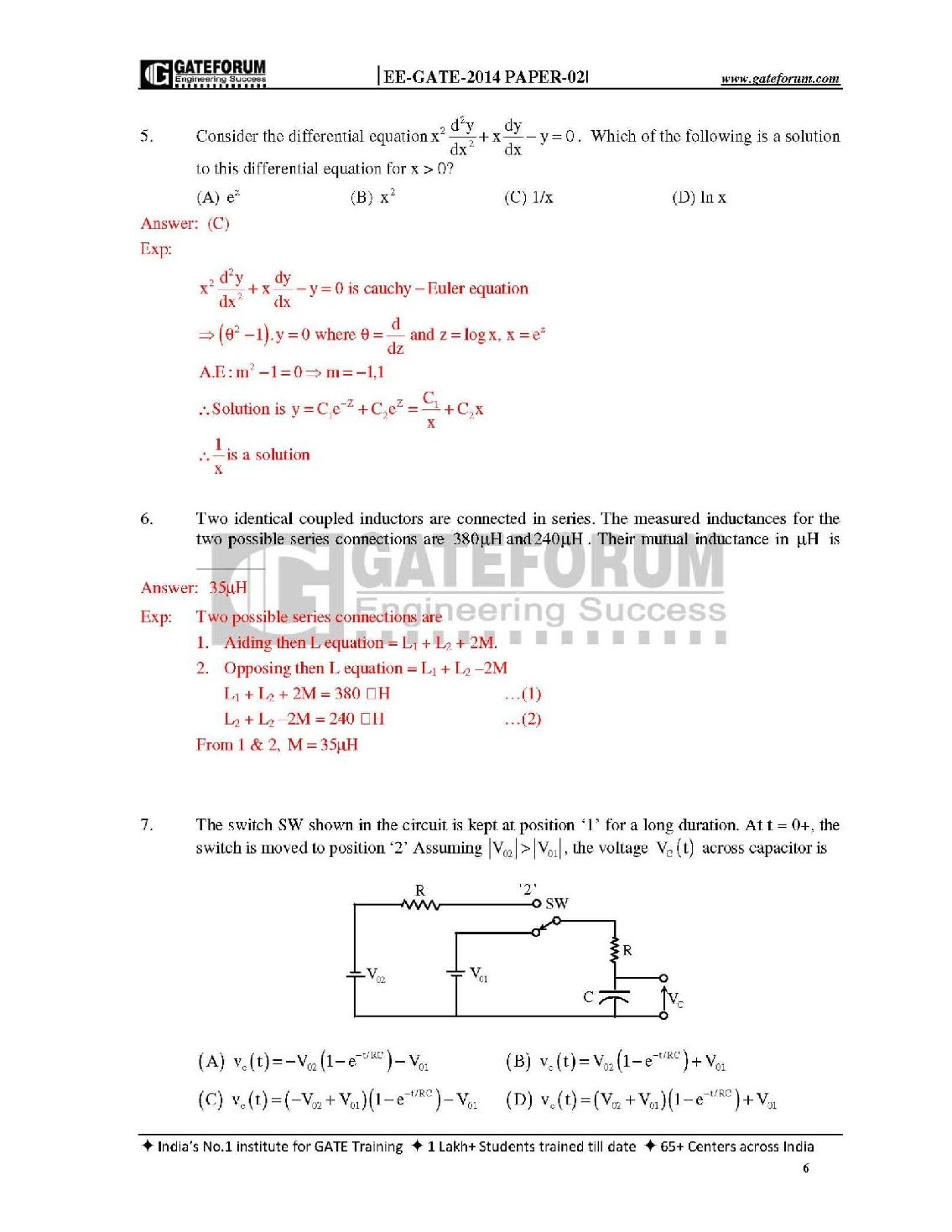Gate Previous Question Papers Solutions Eee Pdf