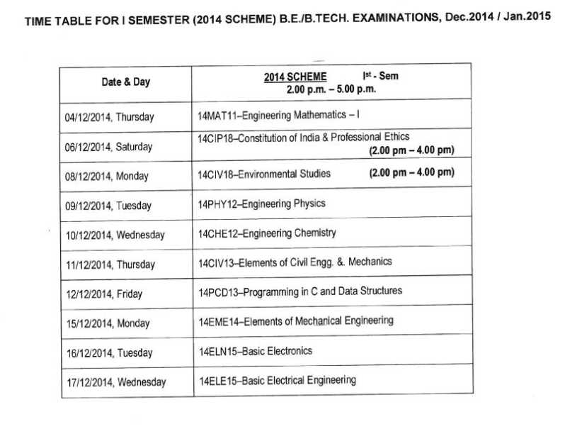 Vtu exam time table dec 12 2018 2019 studychacha for 5th sem time table 2014