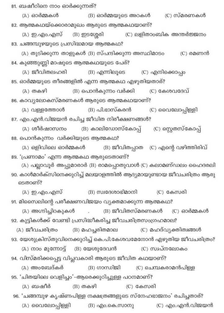 Calicut University Question Bank Malayalam - 2018-2019 StudyChaCha