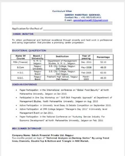 Mba Resume Summary graduate essay format resume cv cover letter – Resume Format for Mba Finance