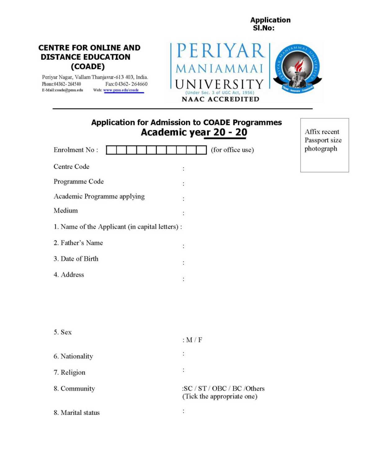 Periyar maniammai university distance education courses thanjavur periyar univ application form yadclub Image collections