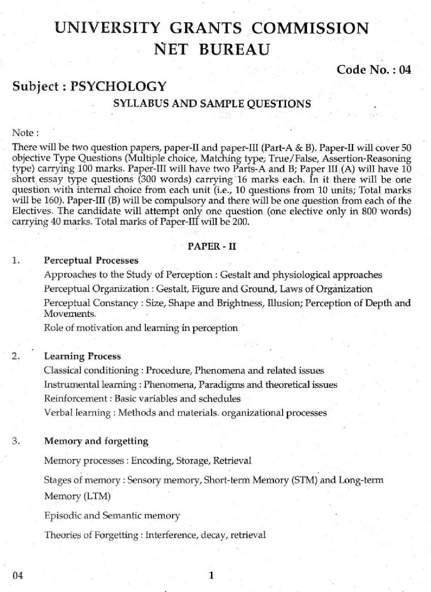 syllabus of ugc net psychology paper 2017 2018  here is the attachment for ugc net psychology question paper