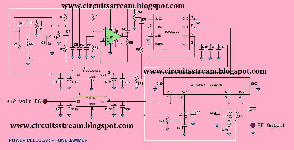 Circuito jammer : Circuit diagram of mobile jammer studychacha