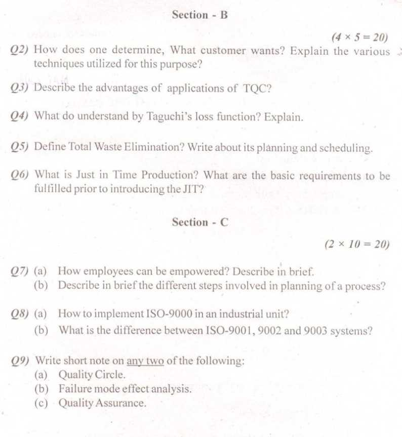Total quality management question papers vtu
