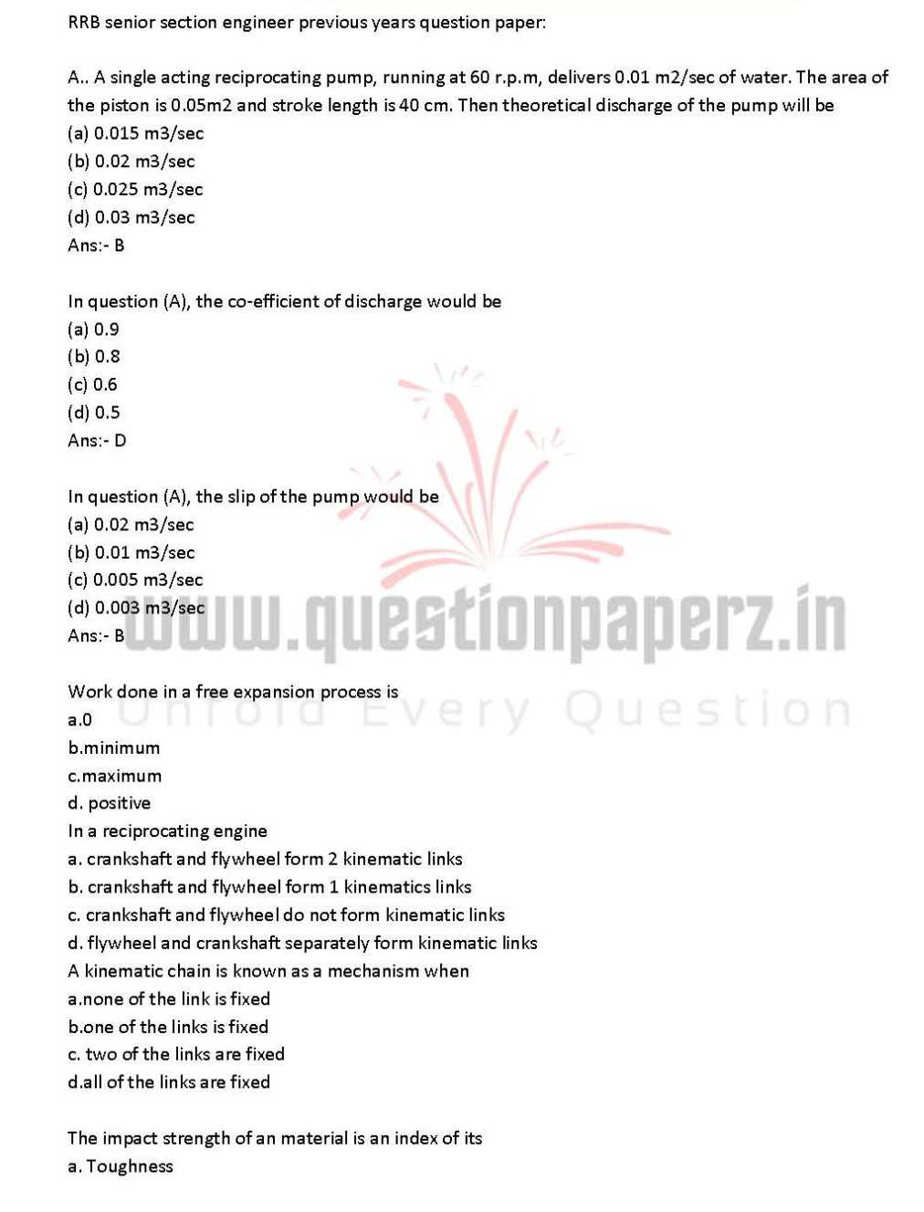 RRB Previous Year Question Papers Download - 2018-2019 ...