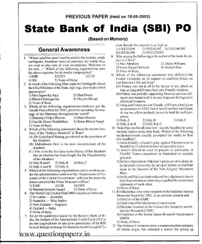 SBI PO Sample Papers PDF with Answers IBPS Model Paper Hindi