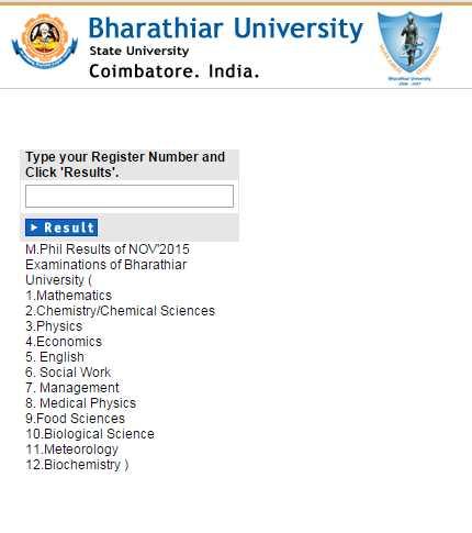 Bharathiar University M Phil Results October - 2018-2019