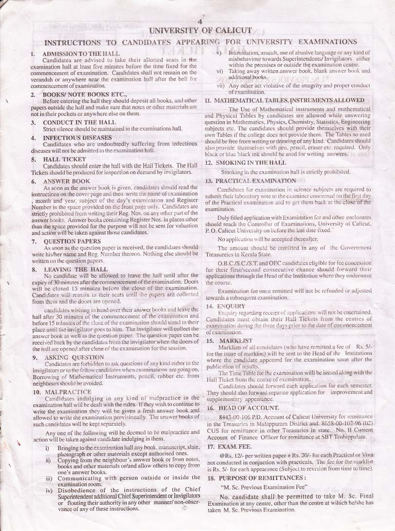 provisional certificate application form calicut university