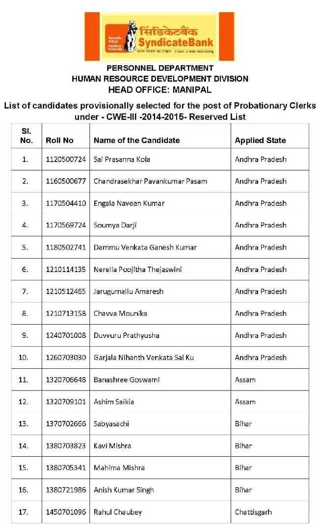clerk interview result of syndicate bank studychacha list of selected candidates clerk post syndicate bank
