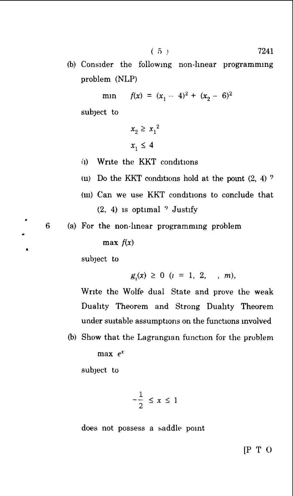Operations research test questions
