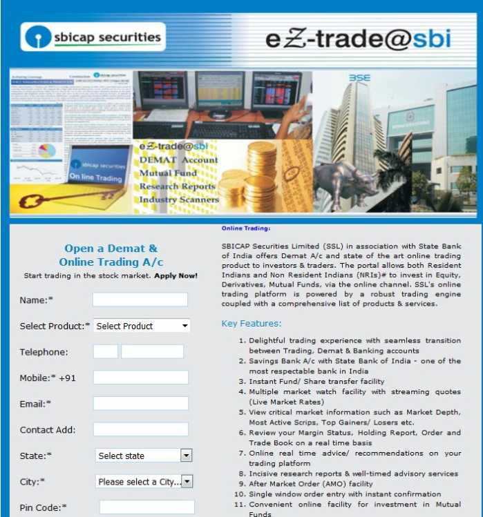 Online share trading account sbi students