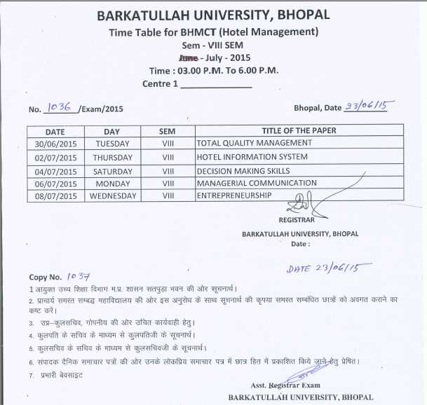 barkatullah university bu bhopal time table 2018 2019