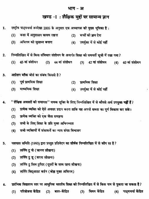 UP B. Ed. Entrance Exam Previous year Papers