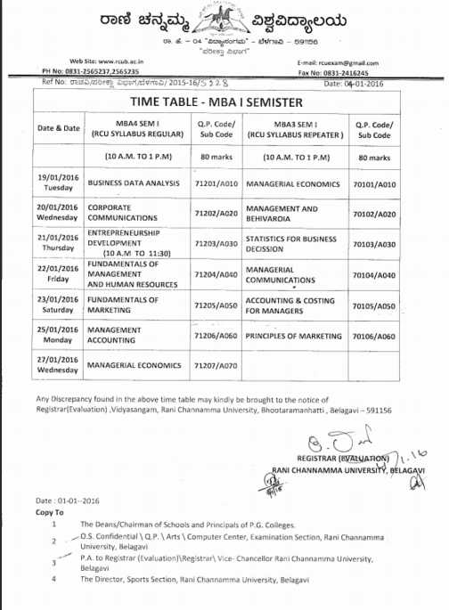 Rcub time table of 2018 2019 studychacha for Rtu 4th sem time table