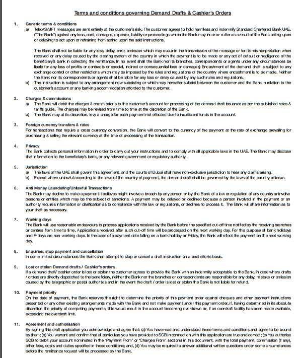 Standard chartered bank questionnaire