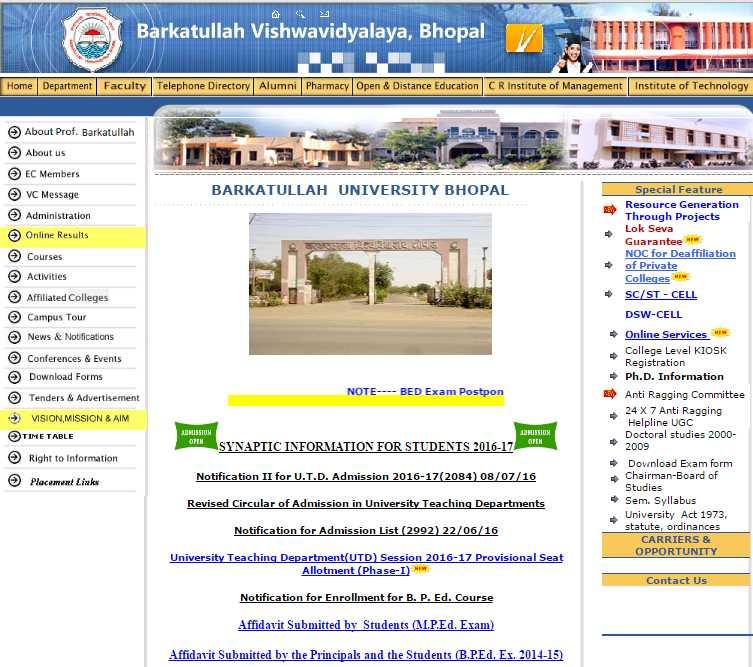 MPONLINE BU Bhopal Exam Form - 2018-2019 StudyChaCha