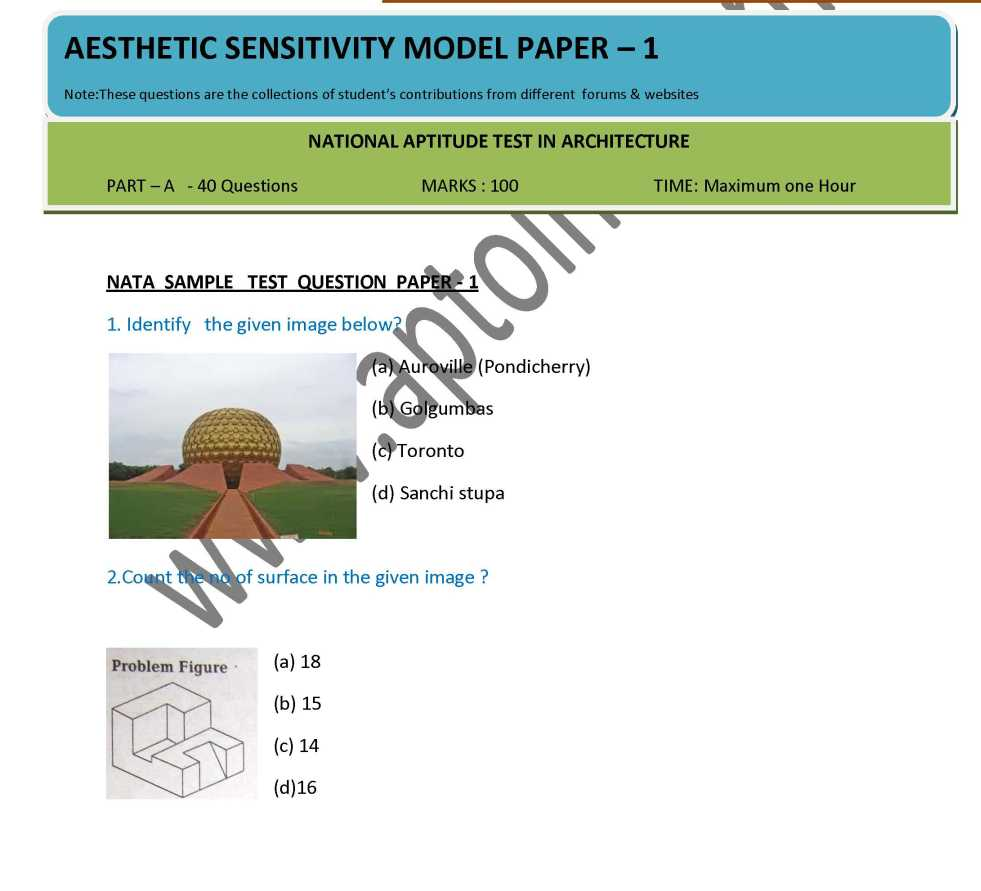 Jee architecture sample papers, exam pattern and past questions.