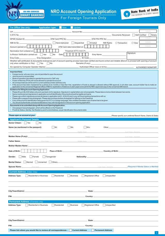sbi online banking application form pdf