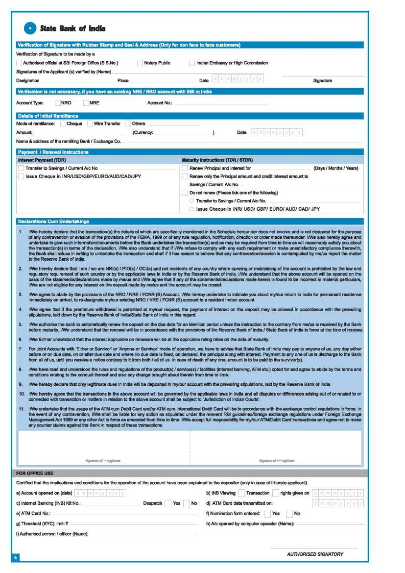 Current account opening form state bank of india - Current account ...