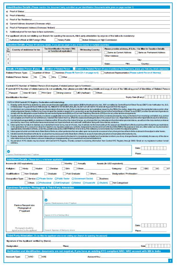 State Bank of India Account Opening Form - 2018-2019 StudyChaCha