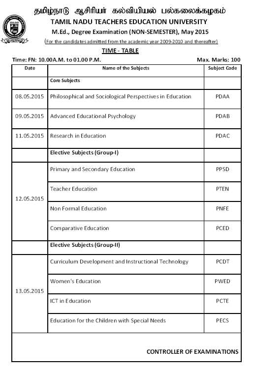 Tnteu med time table 2018 2019 studychacha for Rtu 4th sem time table