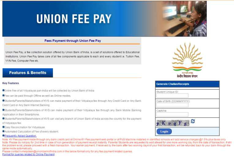 Union bank of india kvs online fee payment - union bank of india kvs