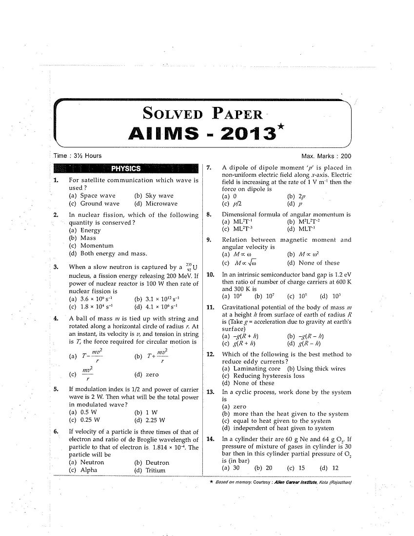 Aiims Mbbs Previous Year Question Papers Pdf
