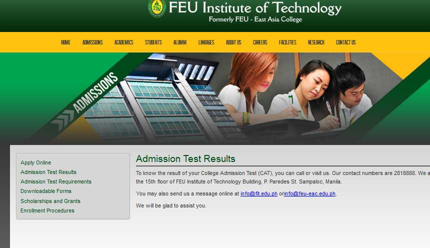 feu admission tess Claim drug test result at the admissions office on the designated date.